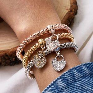 🔥3/$25🔥3 Piece Rhinestone Charm Bracelet Set